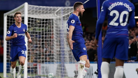 <p>               Chelsea's Olivier Giroud, center, celebrates with teammates Cesar Azpilicueta, left, and Callum Hudson-Odoi, right, after scoring his sides first goal during the English Premier League soccer match between Chelsea and Brighton & Hove Albion at Stamford Bridge stadium in London, Wednesday, April 3, 2019. (AP Photo/Frank Augstein)             </p>