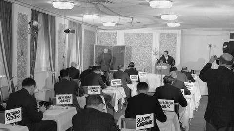 <p>               FILE - This Nov. 26, 1964, file photo shows a general view of the National Football League draft meeting in New York.  (AP Photo/John Lindsay)             </p>