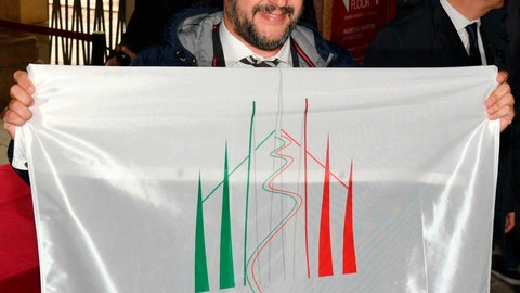 <p>               Deputy Prime Minister of Italy and Minister of Interior, Matteo Salvini, holds a Milan-Cortina 2026 Winter Olympics candidate city flag upon his arrival at a meeting with the IOC evaluation commission, in Milan, Italy, Friday, April 5, 2019. The Milan-Cortina d'Ampezzo bid for the 2026 Winter Olympics has been boosted by a key letter of financial support from the Italian government. The letter signed by Italian Premier Giuseppe Conte was delivered to Octavian Morariu, the chair of the IOC's evaluation commission, which is concluding a weeklong inspection of the bid sites. (Daniel Dal Zennaro/ANSA via AP)             </p>