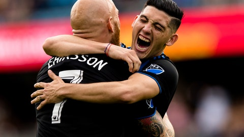 <p>               San Jose Earthquakes midfielder Magnus Eriksson, left, and forward Cristian Espinoza (10) celebrate after a goal against the Portland Timbers in the first half of an MLS soccer match on Saturday, April 6, 2019 in San Jose, Calif. (AP Photo/John Hefti)             </p>