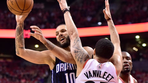 <p>               Orlando Magic guard Evan Fournier (10) controls the ball as Toronto Raptors guard Fred VanVleet (23) defends during the second half in Game 1 of a first-round NBA basketball playoff series in Toronto, Saturday, April 13, 2019. (Frank Gunn/The Canadian Press via AP)             </p>