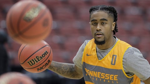<p>               Tennessee's Jordan Bone dribbles during practice for the NCAA men's college basketball tournament, Wednesday, March 27, 2019, in Louisville, Ky. (AP Photo/Darron Cummings)             </p>