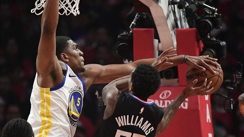 <p>               Los Angeles Clippers guard Lou Williams, right, shoots as Golden State Warriors center Kevon Looney defends during the first half in Game 3 of a first-round NBA basketball playoff series Thursday, April 18, 2019, in Los Angeles. (AP Photo/Mark J. Terrill)             </p>