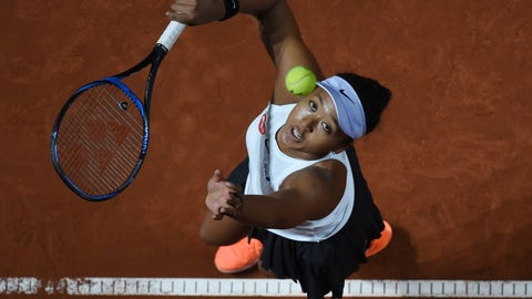 <p>               Japan's Naomi Osaka serves to Croatia's Donna Vekic during their Porsche tennis Grand Prix match in Stuttgart, Germany, Friday April 26, 2019. (Marijan Murat/dpa via AP)             </p>