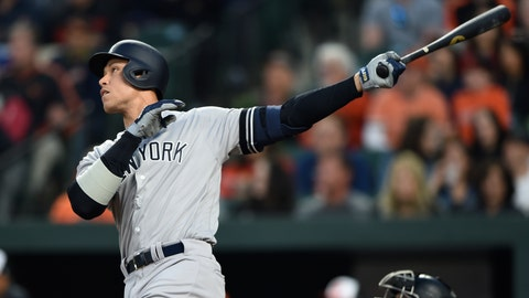 <p>               New York Yankees' Aaron Judge follows through on a solo home run against the Baltimore Orioles during the first inning of a baseball game Saturday, April 6, 2019, in Baltimore. (AP Photo/Gail Burton)             </p>