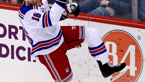 <p>               New York Rangers' Ryan Strome celebrates his winning goal in the overtime period of an NHL hockey game against the Pittsburgh Penguins in Pittsburgh, Saturday, April 6, 2019. (AP Photo/Gene J. Puskar)             </p>
