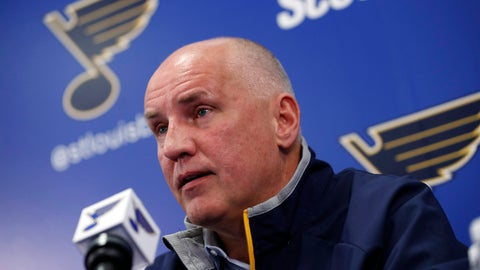 <p>               FILE - In this Feb. 1, 2017, file photo, St. Louis Blues general manager Doug Armstrong speaks during a news conference naming Mike Yeo as the Blues' new head coach in St. Louis. Dead-last in the NHL in early January, the Blues looked like underachievers who cost their head coach his job and wouldn't remain together for long. Then the Blues did the improbable, winning 30 of their final 45 games to become the seventh team since the expansion era began in 1967 to go from last in the league after New Year's Day to the playoffs. (AP Photo/Jeff Roberson, File)             </p>