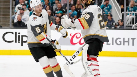 <p>               Vegas Golden Knights' Colin Miller, left, celebrates his goal with goaltender Marc-Andre Fleury (29) during the first period against the San Jose Sharks in Game 2 of an NHL hockey first-round playoff series Friday, April 12, 2019, in San Jose, Calif. (AP Photo/Josie Lepe)             </p>