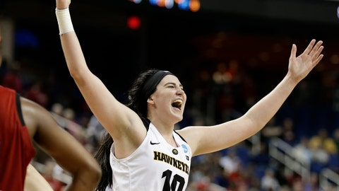 <p>               FILE - In this March 30, 2019, file photo, Iowa's Megan Gustafson reacts as she leaves the court during the second half of a regional women's college basketball game against North Carolina State, in the NCAA Tournament in Greensboro, N.C. Gustafson was named The Associated Press Player of the Year, Thursday, April 4, 2019. (AP Photo/Gerry Broome, File)             </p>