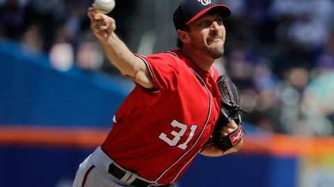 <p>               Washington Nationals' Max Scherzer (31) delivers a pitch during the first inning of a baseball game against the New York Mets, Sunday, April 7, 2019, in New York. (AP Photo/Frank Franklin II)             </p>