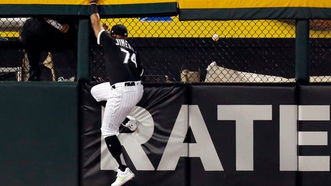 <p>               Chicago White Sox left fielder Eloy Jimenez is unable to catch a home run hit by Detroit Tigers' Grayson Greiner during the third inning of a baseball game Friday, April 26, 2019, in Chicago. (AP Photo/Nuccio DiNuzzo)             </p>
