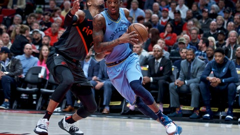 <p>               Memphis Grizzlies guard Delon Wright, right, drives past Portland Trail Blazers guard Rodney Hood during the first half of an NBA basketball game in Portland, Ore., Wednesday, April 3, 2019. (AP Photo/Craig Mitchelldyer)             </p>