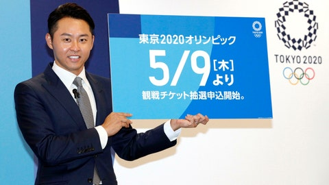 <p>               Kosuke Kitajima, a four-time Olympic swimming gold medalist attends a press conference in Tokyo Thursday, April 18, 2019. Kitajima helped Tokyo Olympic organizers launch their ticket website on Thursday, which is where only Japan residents can buy tickets when they go on sale in Japan on May 9. But the useful site can also be accessed by people outside Japan, where basic prices are listed along with the full competition schedule. (Yuta Omori/Kyodo News via AP)             </p>