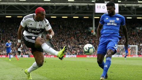 <p>               Fulham's Ryan Babel, left, in action with Cardiff City's Bruno Ecuele Manga during the English Premier League soccer match between Fulham and Cardiff City at Craven Cottage stadium, London, England. Saturday, April 27, 2019. (Steven Paston/PA via AP)             </p>