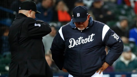 <p>               Detroit Tigers manager Ron Gardenhire reacts to being thrown out of the baseball game by Todd Tichenor, left, during the fifth inning against the Chicago White Sox in Detroit, Friday, April 19, 2019. (AP Photo/Paul Sancya)             </p>