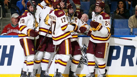 <p>               Minnesota-Duluth players celebrate a goal during the second period against Massachusetts in the NCAA Frozen Four men's college hockey championship game Saturday, April 13, 2019, in Buffalo, N.Y. (AP Photo/Jeffrey T. Barnes)             </p>