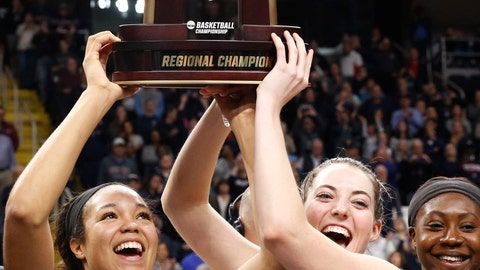 <p>               Connecticut forward Napheesa Collier (24) and guard Katie Lou Samuelson (33) hold up the trophy after defeating Louisville in a regional championship final in the NCAA women's college basketball tournament, Sunday, March 31, 2019, in Albany, N.Y. (AP Photo/Kathy Willens)             </p>
