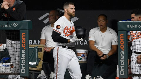<p>               CORRECTS TO SECOND INNING NOT FIRST INNING - Baltimore Orioles' Chris Davis walks in the dugout after he lined out during the second inning of a baseball game against the Oakland Athletics, Monday, April 8, 2019, in Baltimore. (AP Photo/Nick Wass)             </p>