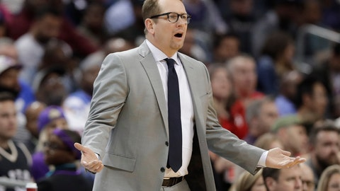 <p>               Toronto Raptors coach Nick Nurse reacts to a call during the second half of the team's NBA basketball game against the Charlotte Hornets in Charlotte, N.C., Friday, April 5, 2019. (AP Photo/Chuck Burton)             </p>