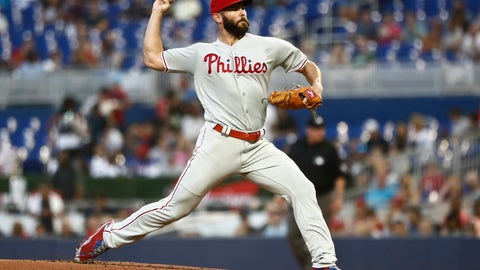 <p>               Philadelphia Phillies starting pitcher Jake Arrieta delivers during the first inning of the team's baseball game against the Miami Marlins on Friday, April 12, 2019, in Miami. (AP Photo/Brynn Anderson)             </p>