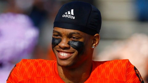 <p>               FILE - In this Jan. 26, 2019, file photo, North safety Nasir Adderley of Delaware (23) smiles before the start of the Senior Bowl college football game, in Mobile, Ala. Adderley is a possible pick in the 2019 NFL Draft. (AP Photo/Butch Dill, File)             </p>