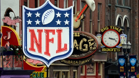 <p>               A temporary NFL neon sign joins the permanent ones along Broadway as preparation continues for the NFL Draft Tuesday, April 23, 2019, in Nashville, Tenn. The NFL Draft is scheduled to be held Thursday through Saturday. (AP Photo/Mark Humphrey)             </p>