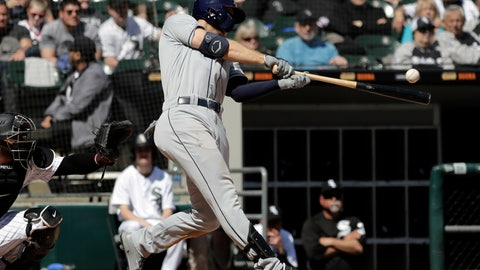 <p>               Tampa Bay Rays' Austin Meadows hits a one-run single against the Chicago White Sox during the fourth inning of a baseball game in Chicago, Tuesday, April 9, 2019. (AP Photo/Nam Y. Huh)             </p>