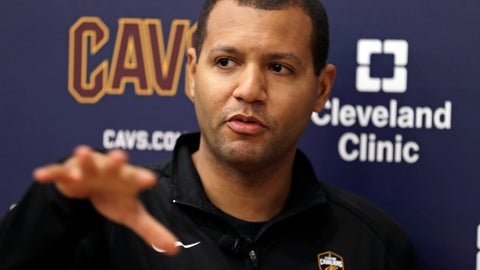 <p>               Cleveland Cavaliers general manager Koby Altman speaks to the media at the team's training facility, Friday, April 12, 2019, in Independence, Ohio. Once again, the Cavaliers are looking for a coach. The team parted ways with Larry Drew and have begun their search for his replacement to continue their rebuild. (AP Photo/Tony Dejak)             </p>