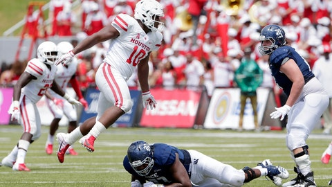 <p>               FILE - In this Sept. 1, 2018, file photo, Houston defensive tackle Ed Oliver (10) jumps over Rice offensive lineman Uzoma Osuji, center, to get around offensive lineman Jack Greene, right, during an NCAA college football game, in Houston. Oliver is a possible pick in the 2019 NFL Draft. (AP Photo/Michael Wyke, File)             </p>