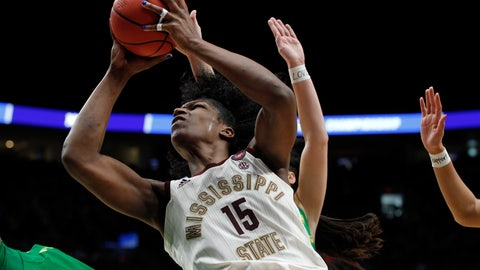 <p>               Mississippi State center Teaira McCowan drives to the basket against Oregon during the second half of a regional final in the NCAA women's college basketball tournament Sunday, March 31, 2019, in Portland, Ore. Oregon defeated Mississippi State 88-84. (AP Photo/Steve Dipaola)             </p>