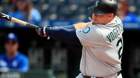 <p>               Seattle Mariners designated hitter Daniel Vogelbach hits a solo home run during the 10th inning of a baseball game against the Kansas City Royals at Kauffman Stadium in Kansas City, Mo., Thursday, April 11, 2019. The Mariners defeated the Royals 7-6 in 10 innings. (AP Photo/Orlin Wagner)             </p>