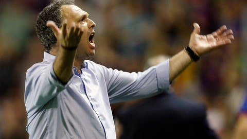 <p>               FILE - In this file photo dated Saturday, Oct. 5, 2013, Levante's coach Joaquin Caparros gesture during their La Liga soccer match against Real Madrid at the Ciutat de Valecia stadium in Valencia, Spain.  Sevilla coach Joaquin Caparros announced Sunday April 7, 2019, that he has leukaemia but will stay on the job with the Spanish club. (AP Photo/Alberto Saiz, FILE)             </p>