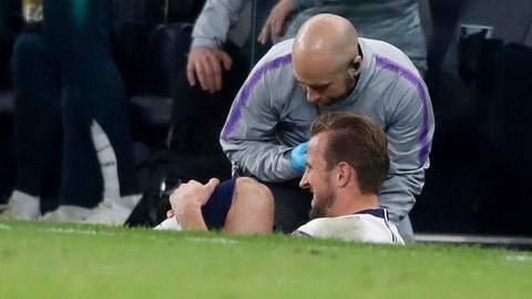<p>               Tottenham's Harry Kane gets injured during the Champions League, round of 8, first-leg soccer match between Tottenham Hotspur and Manchester City at the Tottenham Hotspur stadium in London, Tuesday, April 9, 2019. (AP Photo/Frank Augstein)             </p>