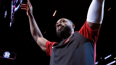 <p>               Miami Heat guard Dwyane Wade acknowledges the crowd before the team's NBA basketball game against the Brooklyn Nets, Wednesday, April 10, 2019, in New York. Wade is retiring after the game. (AP Photo/Kathy Willens)             </p>