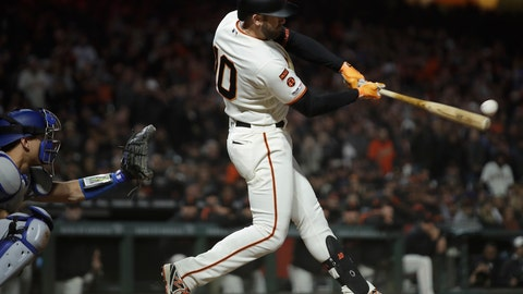 <p>               San Francisco Giants' Evan Longoria connects for a three-run double off Los Angeles Dodgers' Dylan Floro in the seventh inning of a baseball game, Monday, April 29, 2019, in San Francisco. (AP Photo/Ben Margot)             </p>