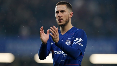 <p>               Chelsea's Eden Hazard applauds at the end of the English Premier League soccer match between Chelsea and West Ham at Stamford Bridge stadium in London, Monday, April 8, 2019. (AP Photo/Alastair Grant)             </p>