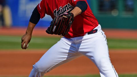<p>               Cleveland Indians starting pitcher Carlos Carrasco delivers in the first inning of a baseball game against the Toronto Blue Jays, Saturday, April 6, 2019, in Cleveland. (AP Photo/David Dermer)             </p>