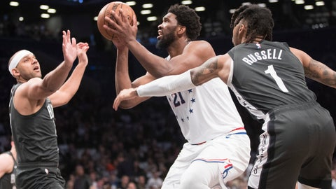 <p>               Philadelphia 76ers center Joel Embiid (21) goes to the basket against Brooklyn Nets guard D'Angelo Russell (1)and forward Jared Dudley during the first half of of Game 4 of a first-round NBA basketball playoff series, Saturday, April 20, 2019, in New York. (AP Photo/Mary Altaffer)             </p>