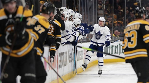 <p>               Toronto Maple Leafs right wing Mitchell Marner, right rear, is congratulated by teammates after his penalty-shot goal off Boston Bruins goaltender Tuukka Rask during the second period of Game 1 of an NHL hockey first-round playoff series Thursday, April 11, 2019, in Boston. (AP Photo/Charles Krupa)             </p>