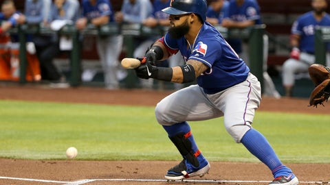<p>               Texas Rangers' Rougned Odor lays down a bunt against the Arizona Diamondbacks during the first inning of a baseball game Tuesday, April 9, 2019, in Phoenix. Odor beat the throw to first base to get a single on the play. (AP Photo/Ross D. Franklin)             </p>
