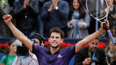 <p>               Dominic Thiem of Austria celebrates winning the final of the Barcelona Open Tennis Tournament against Daniil Medvedev of Russia in two sets 6-4, 6-0, in Barcelona, Spain, Sunday, April 28, 2019. (AP Photo/Felipe Dana)             </p>