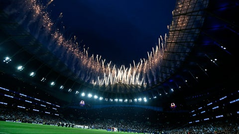 <p>               Fireworks explode above the stadium as the teams stand on the pitch before the start of the English Premier League soccer match between Tottenham Hotspur and Crystal Palace, the first Premiership match at the new Tottenham Hotspur stadium in London, Wednesday, April 3, 2019. (AP Photo/Kirsty Wigglesworth)             </p>