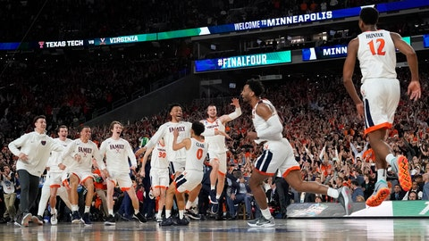 <p>               Virginia players celebrates after defeating Texas Tech 85-77 in the overtime in the championship of the Final Four NCAA college basketball tournament, Monday, April 8, 2019, in Minneapolis. (AP Photo/David J. Phillip)             </p>