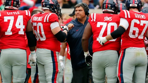<p>               FILE  - In this Oct. 20, 2018, file photo, Mississippi coach Matt Luke speaks with his players during an NCAA college football game against Auburn in Oxford, Miss. Luke guided Mississippi's football program through the dark days of a two-year NCAA postseason ban. Now the Rebels believe the young coach--along with a few veteran coordinators--can push the program back in the Southeastern Conference's elite. The Rebels have remade their coaching staff over the winter, paying more than $7 million over the next three years to offensive coordinator Rich Rodriguez and defensive coordinator Mike MacIntyre. The well-respected duo has more than two decades of Division I head coaching experience between them. (AP Photo/Rogelio V. Solis, File)             </p>