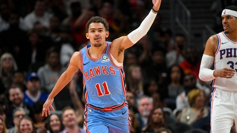 <p>               Atlanta Hawks guard Trae Young reacts after scoring on the Philadelphia 76ers during the second half of an NBA basketball game Wednesday, April 3, 2019, in Atlanta. The Hawks won 130-122. (AP Photo/John Amis)             </p>