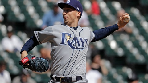 <p>               Tampa Bay Rays starting pitcher Blake Snell throws against the Chicago White Sox during the first inning of a baseball game in Chicago, Monday, April 8, 2019. (AP Photo/Nam Y. Huh)             </p>