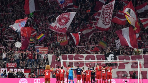 <p>               Bayern players celebrate their win after the German Bundesliga soccer match between FC Bayern Munich and Borussia Dortmund in the Allianz Arena in Munich, Germany, on Saturday, April 6, 2019. Bayern won 5-0. (AP Photo/Kerstin Joensson)             </p>