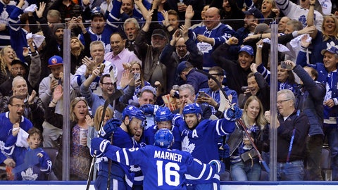 <p>               Toronto Maple Leafs center Auston Matthews (34) celebrates his goal against the Boston Bruins with teammates during the second period of an NHL playoff hockey game in Toronto on Monday, April 15, 2019. (Nathan Denette/The Canadian Press via AP)             </p>