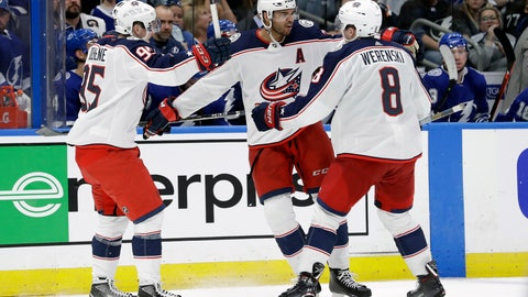 <p>               Columbus Blue Jackets defenseman Seth Jones (3) celebrates his goal against the Tampa Bay Lightning with defenseman Zach Werenski (8) and center Matt Duchene (95) during the third period of Game 1 of an NHL Eastern Conference first-round hockey playoff series Wednesday, April 10, 2019, in Tampa, Fla. (AP Photo/Chris O'Meara)             </p>