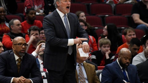 <p>               Philadelphia 76ers coach Brett Brown gestures to his team during the first half of an NBA basketball game against the Chicago Bulls on Saturday, April 6, 2019, in Chicago. (AP Photo/David Banks)             </p>